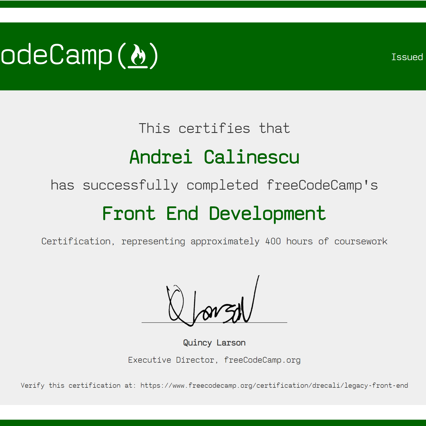 Front End Developer Certification